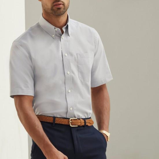 Елегантна официална мъжка риза с къс ръкав Oxford