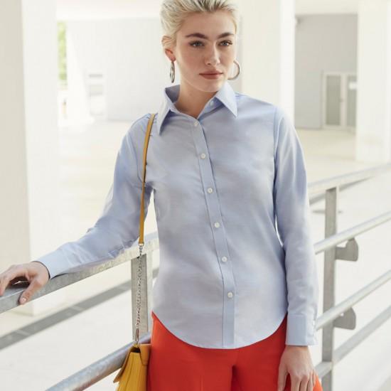 Класическа официална дамска риза с дълъг ръкав Oxford