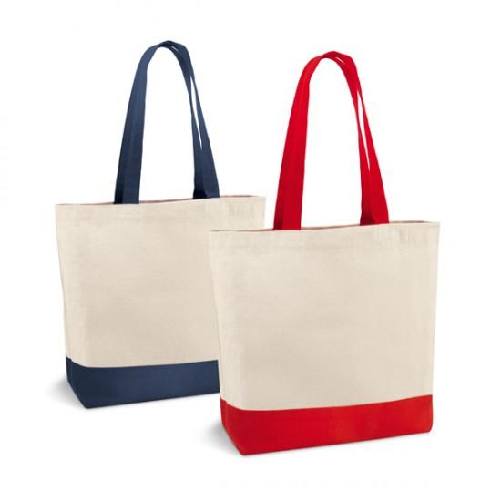 Плърна памучна чанта с цветни дръжки
