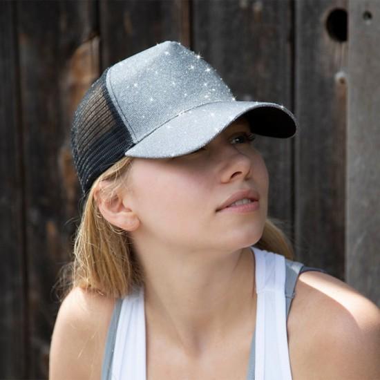 Пет панелна mesh шапка с брукат New York Sparkle