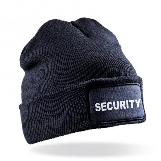 Плетена шапка надпис SECURITY